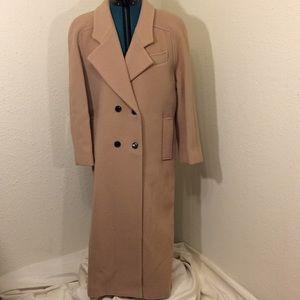 Women's sz 10 100%wool peach trench coat (157)